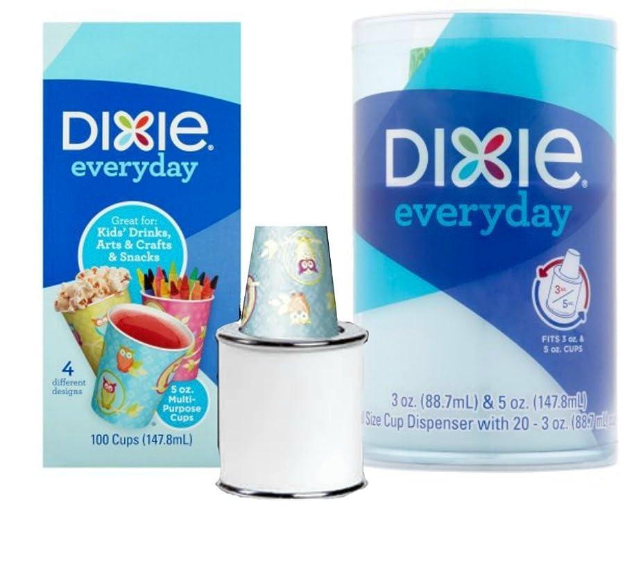 Dixie Cup Dispenser Everyday 5 oz. Cups Kids' Drink, Snacks, Crafts - 1 Dispenser & 100 5 oz cups