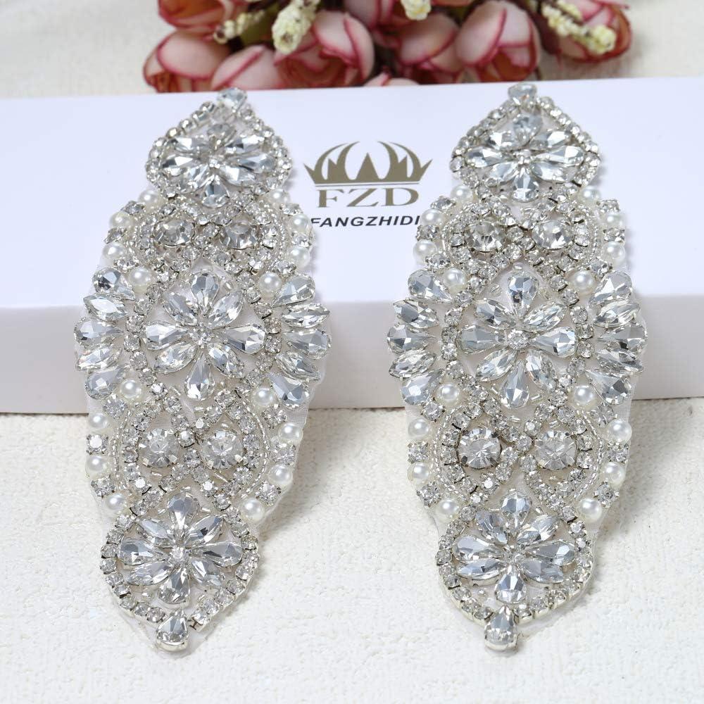 Rhinestone Applique for Wedding Dress Now free Baltimore Mall shipping Silver Belt Embellishment