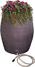 Emsco Group 2242-1 Rescue 50-Gallon Includes Planter, Water Diverter, Outlet Hose – Flatback Design – Brown 50 Gallon Whiskey Rain Barrel