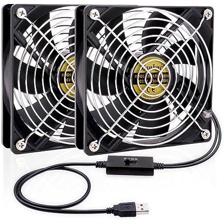 Mauknci USBファン 12cm 2台1組 2連USBファン 静音 5V 3段階風量調整 PS4など用 冷却ファン