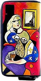 Portafoglio da donna in pelle dipinta a mano - DONNA CHE LEGGE DI PICASSO - Portafogli Donna, Vera Pelle, Made in Italy, C...