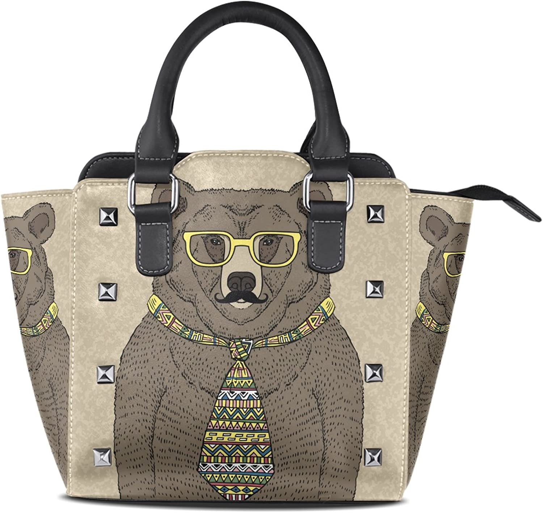 My Little Nest Women's Top Handle Satchel Handbag Hipster Bear with Tie and Glasses Ladies PU Leather Shoulder Bag Crossbody Bag