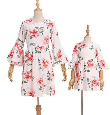 8ba2da6e PopReal Mommy and Me Trumpet Sleeve Chiffon Floral Print Swing Matching  Mini Dress White