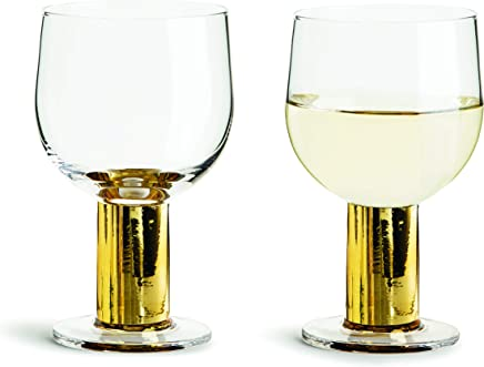 Sagaform Gold Stemmed Drinking Glasses,  2 Pack – All Purpose Elegant Tumblers for Wine,  Cocktails,  Shots and Beverages - for Weddings,  Parties,  Catering and Home Dining