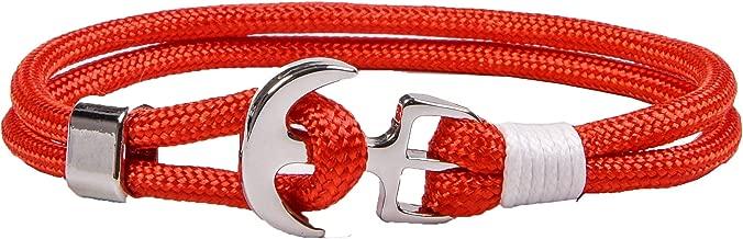 RIVERTREE Nautical Rope Bracelet Men and Women Anchor Bracelet Braided Nylon Cord Wristbands
