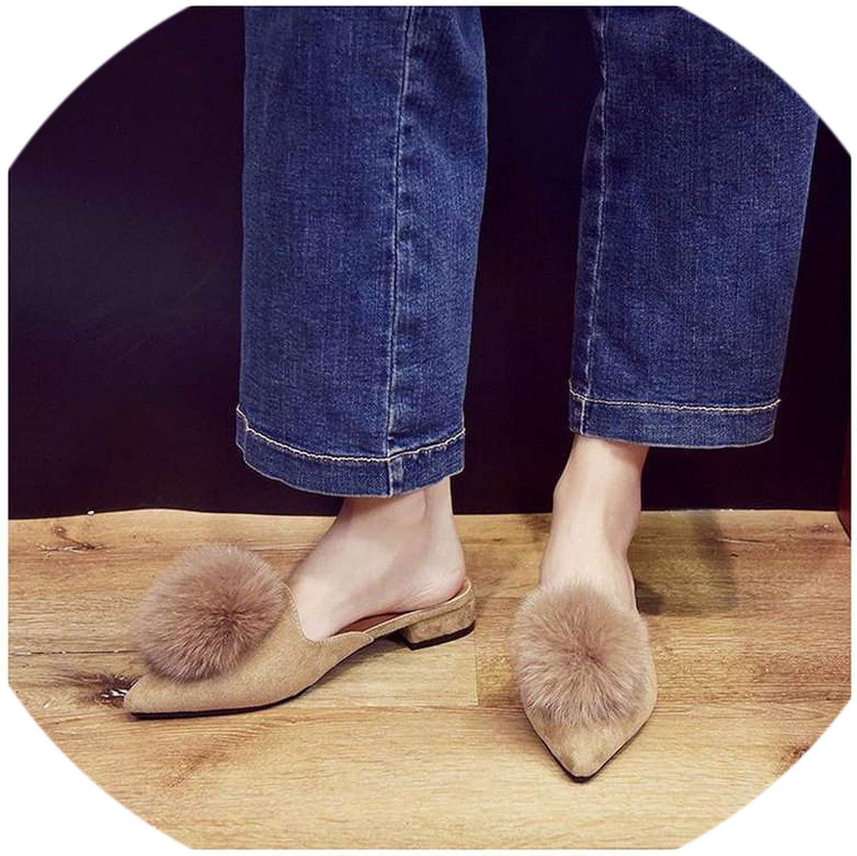 Cute Furry Ball Women Slippers Mules Pointed Toe Women Flat Heel Slides Casual
