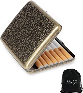 Retro Cigarettes Case Alloy Frosted Cigaret Box Double Sided Metal Cigarette Holder for 20 Regular Cigarettes