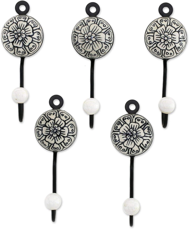 NOVICA Manufacturer Albuquerque Mall OFFicial shop Floral Brass and Ceramic Hangers White Coat Black F