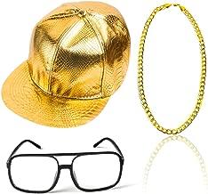 Beelittle 80s 90s Rapper Hip Hop Costume Snapback Baseball Cap DJ Sunglasses Gold Plated Chain