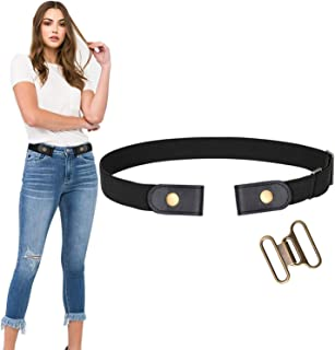 WERFORU No Buckle Stretch Belt For Women Men Elastic Waist Belt Up to 72 Inch for Jeans Pants