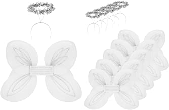 Darware Christmas Angel Wings and Halos Sets (6-Pack); Angel Dress Up Costumes for Pageants, Plays and Parties, White and Silver