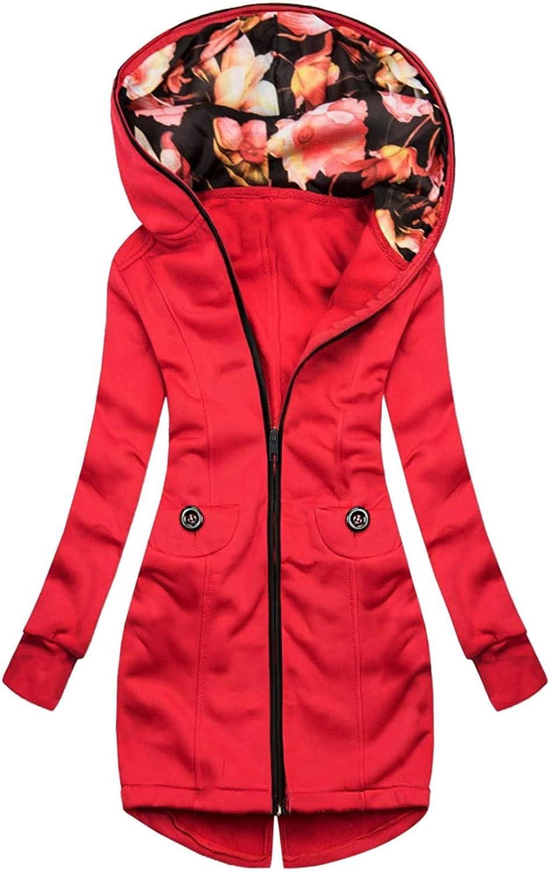 Rain Jackets for Women Waterproof Overcoat Outwear Floral Print Windbreaker Zipper Pocket Sweatshirt Long Sleeve Coat