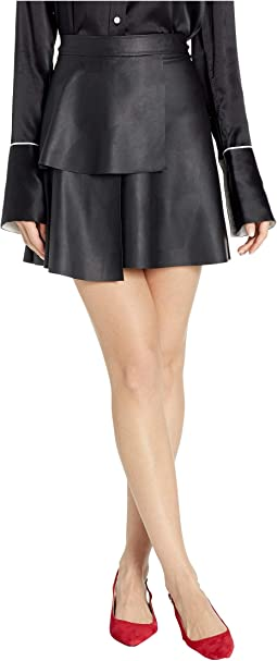 Ruffle Front Leather Skirt