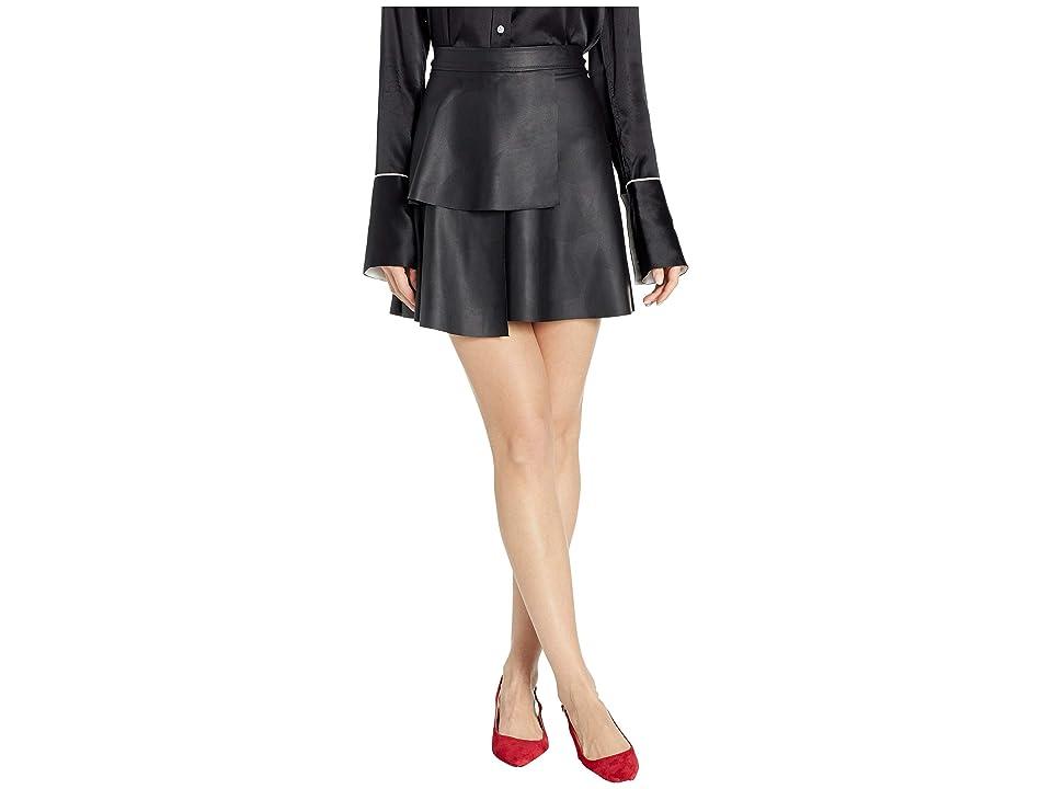 BCBGeneration Ruffle Front Leather Skirt (Black) Women