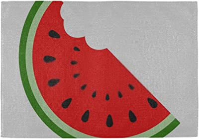 Amazon Com Xuggl Placemats Set Of 6 For Dining Table Washable Vector Water Melon Watermelon Slice Fruit Placemat Non Slip Kitchen Table Mats Home Kitchen