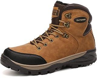 Heren Dames Enkellaarzen Bont Gevoerde Sneeuwschoenen Winter Combat Boot Warme Outdoor PU Lederen Booties Comfy Fashion,Br...