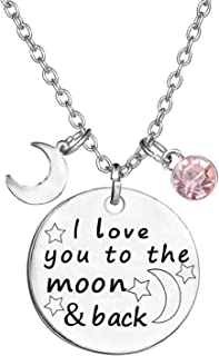Birthstone Crystals Necklace,I Love You to The Moon and Back Jewelry Necklace