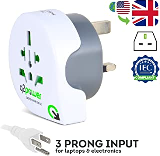 World to UK Travel Adapter by Q2Power, for Type G Outlets, Grounded and Safe, Works with Laptops, Computers, Smartphone Chargers, Portable Devices, Perfect for International Trips