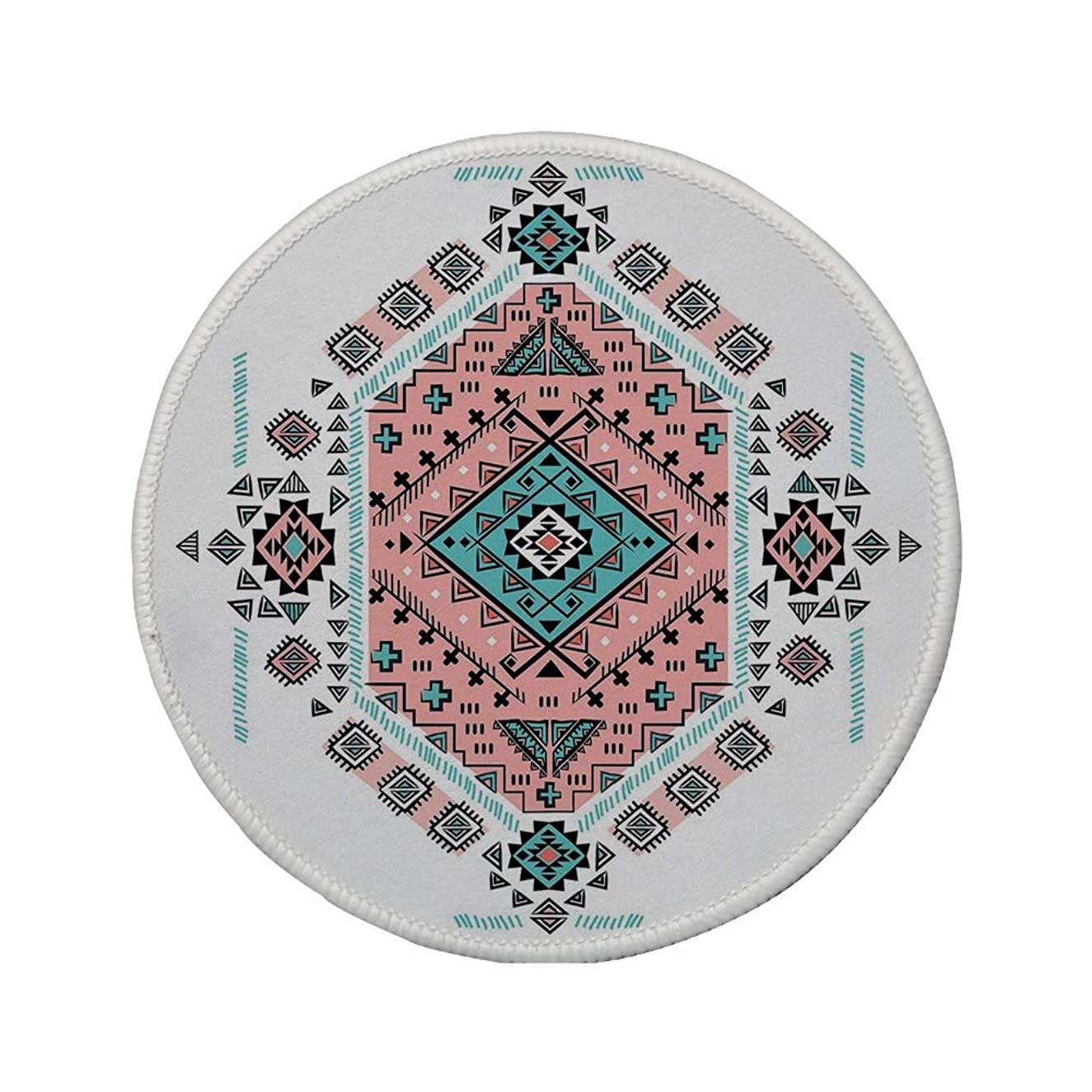 Non-Slip Rubber Round Mouse Pad,Tribal Decor,Mexican Native American Ethnic Symmetrical Four Corner Art Pattern,Teal and Coral Pink,7.87