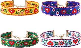 4pcs Boho Flower Embroidery Choker Necklace Set for Women Heart Embroidered Collar Chain