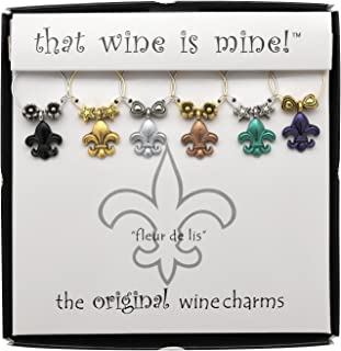 Wine Things 6-Piece Fleur De Lis Wine Charms, Painted