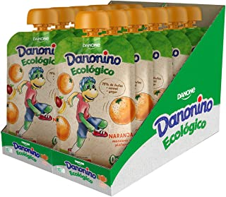 Danonino Pouch sin azúcares añadidos: Alimento Infantil Ecológico Con Naranja, Manzana Y Plátano - 12 Unidades de 90g