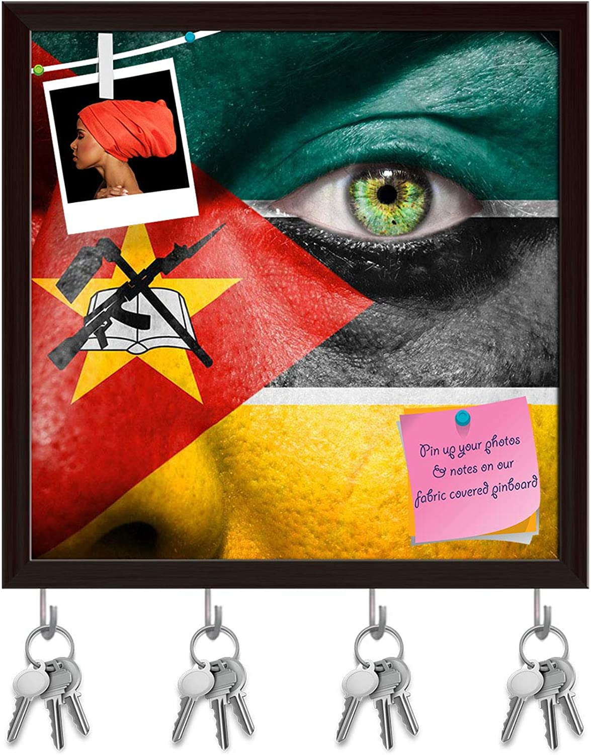 Artzfolio Mozambique Flag Painted On A Face Key Holder Hooks   Notice Pin Board   Dark Brown Frame 20 X 20Inch