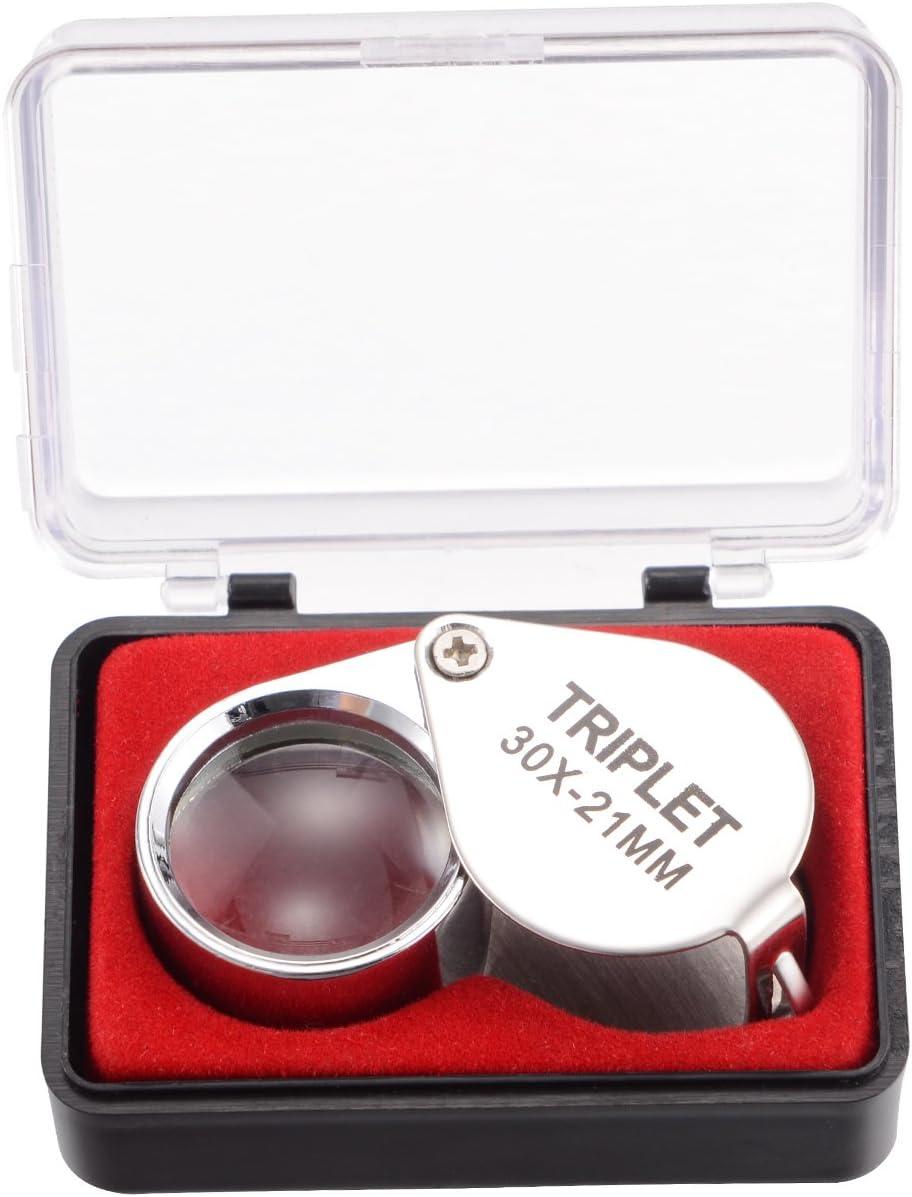 tm-home 30X Full Mail order Metal Award-winning store Folding Jeweler's Pocket Glass Magnifying