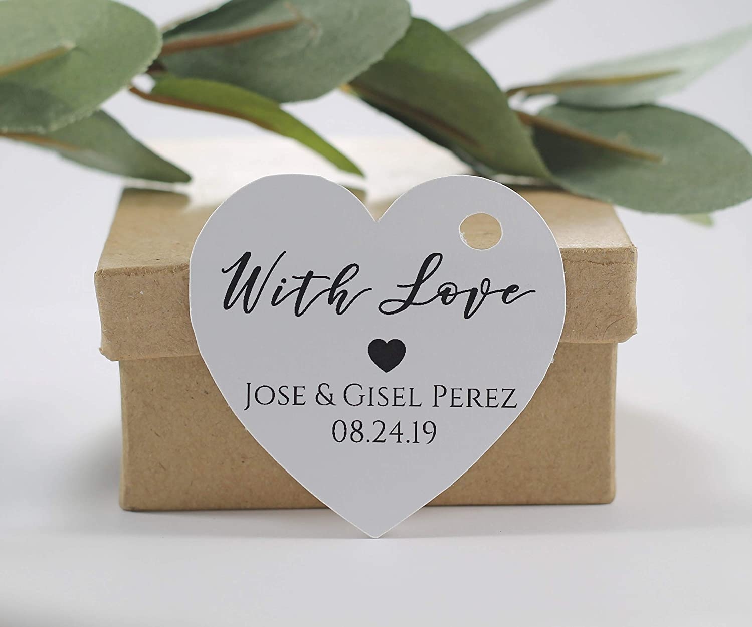 Personalized White Wedding Favor Outlet SALE Tags Oklahoma City Mall Heart - Shaped Custom