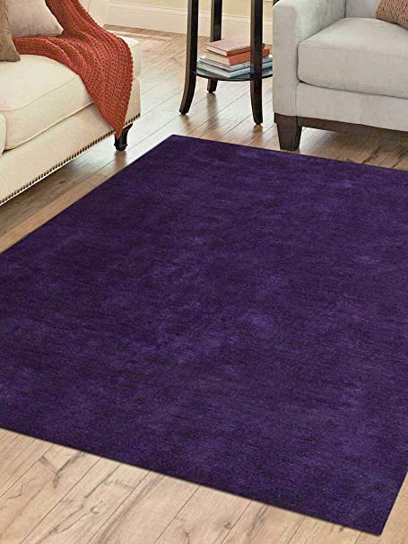Amazon Com Rugsotic Carpets Hand Knotted Gabbeh Silk 10 X10 Square Area Rug Solid Purple Ls0111 Kitchen Dining