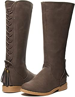 Girls Lace up Winter Riding Boots with Back Tassel Shoes