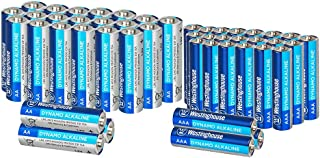Westinghouse Alkaline AA+AAA Batteries (Bulk Pack 48 Count), Leak-Proof & Long-Lasting Technology Double A + Triple A Primary Batteries with Lasting Power for High Drain Devices (Non-Rechargeable)