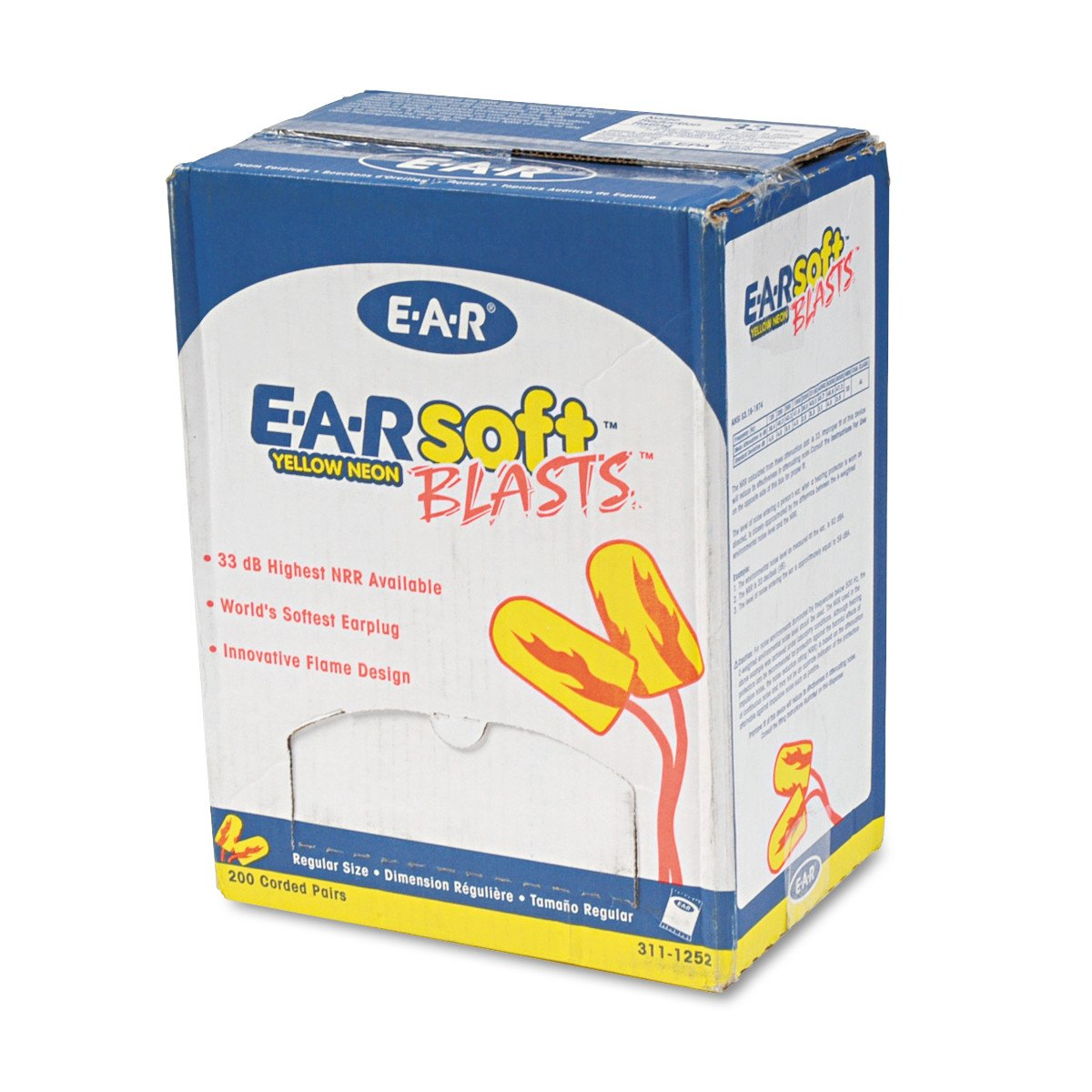 3M E-A-R Topics on TV Earsoft Corded 200-Pair Earplugs Neon Import Yellow