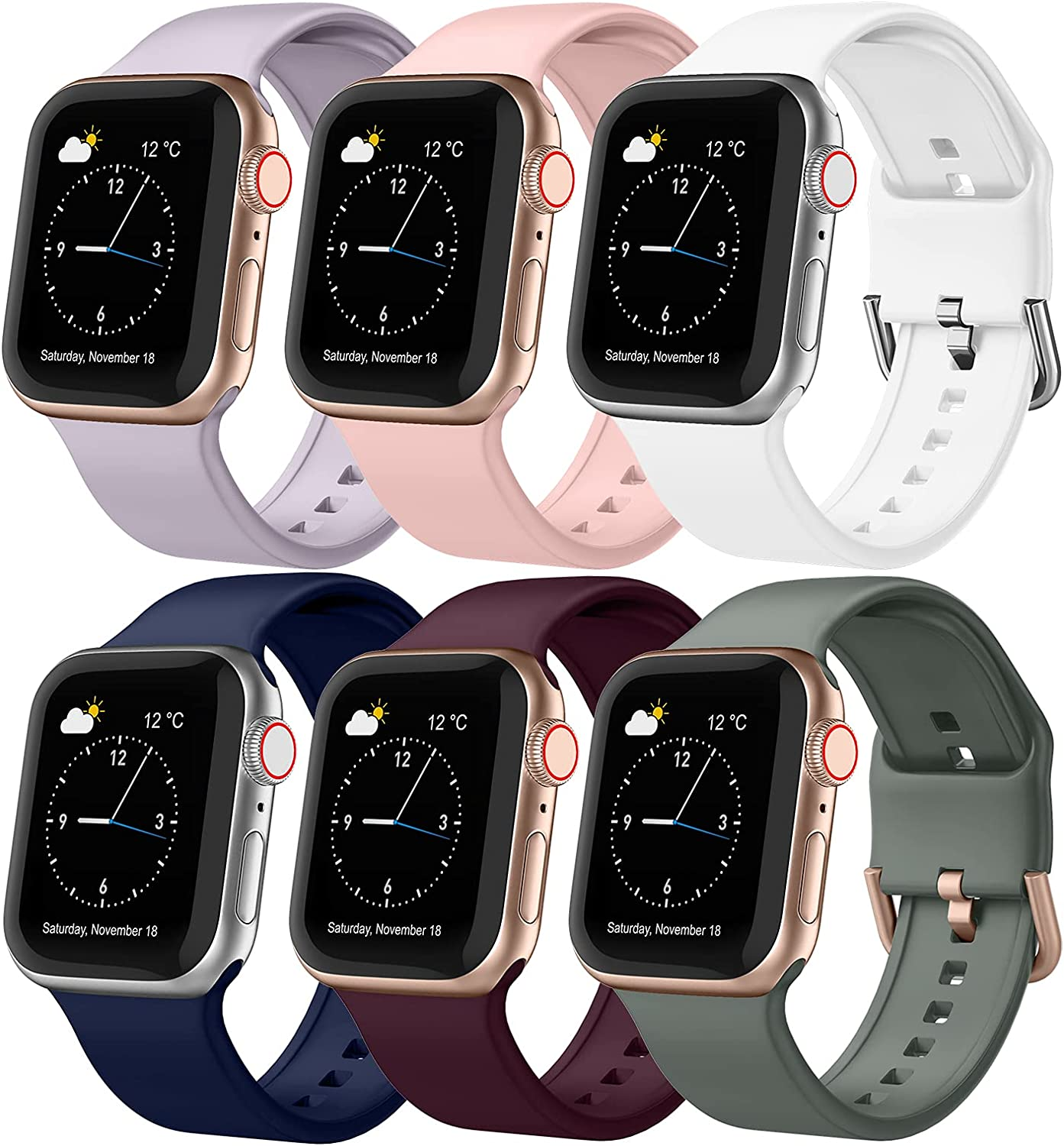 CCnutri 6 Pack Bands Compatible for Apple Watch Band 38mm 40mm 42mm 44mm, Soft Silicone Sport Straps with Classic Buckle for Women Men Compatible with iWatch Series SE 6 5 4 3 2 1, 42mm/44mm