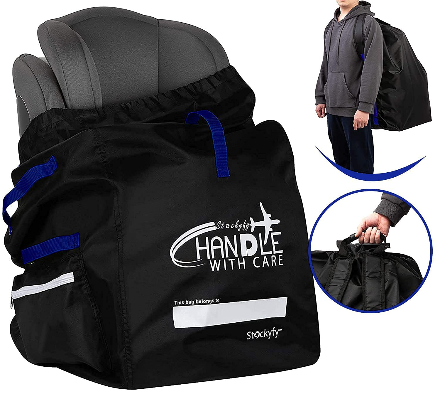 Stockyfy Car Seat Travel Bag Tucson Mall Super beauty product restock quality top! with - Pouch Blue Black Straps
