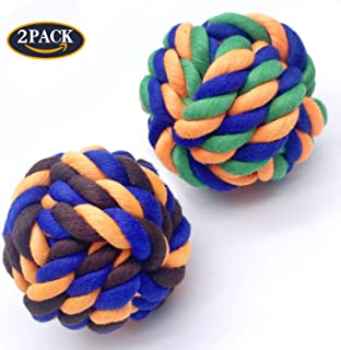 SisterAling Knotted Chewing Dog Toy,2Pack Colorful Woven Cotton Puppy Chew Toy,Interactive Jolly Balls for Large Dogs and Cats, Great for Pets'Play,Training and Fun.