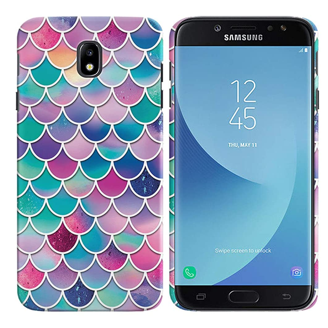 FINCIBO Case Compatible with Samsung Galaxy J7 Pro J730 5.5 inch 2017, Back Cover Hard Plastic Protector Case Stylish Design for Galaxy J7 PRO (NOT FIT J7 2016) - Pink Blue Pastel Mermaid Scales