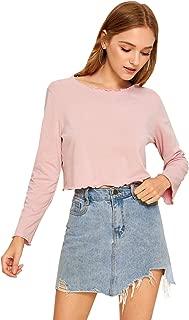 SweatyRocks Women's Lettuce Edge Notched Neck Long Sleeve Crop Top T Shirt