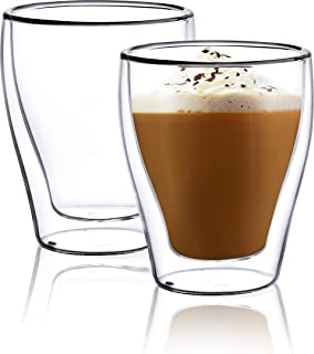 CNGLASS Double Wall Glass Coffee Mugs,8.8oz For Cappuccino,Tea,Latte,Espresso,Hot and Cold Beverages,Set Of 2
