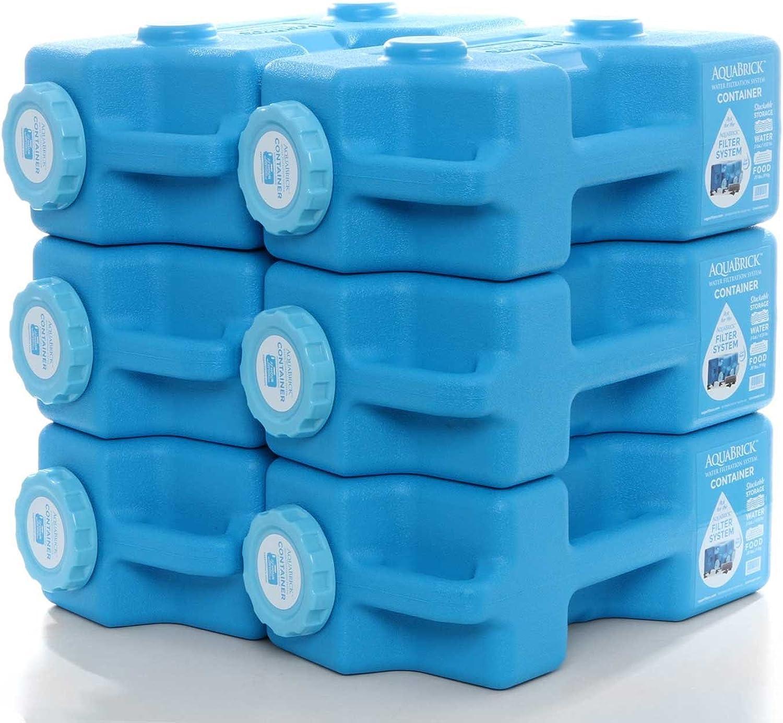 AquaBrick Emergency Water & Food Storage Container, Portable Stackable Storage Containers, Water Storage, BPA Free by SaganLife (6Pack)