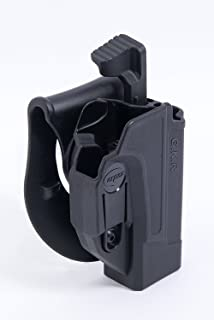 Orpaz Glock 17/19/22/23/25/26/27/31/32/34/35 Thumb Release Holster Black Polymer with 360 Rotation Paddle with Tension Adjustment