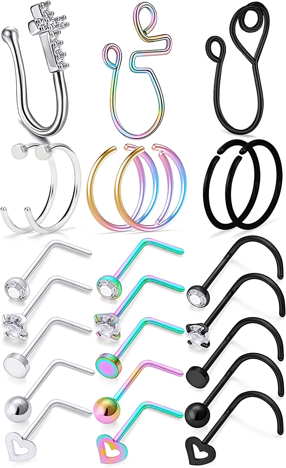 Cisyozi 30pcs 20G Stainless shop Max 50% OFF Steel Fake Septum Hoop Pie Ring Nose
