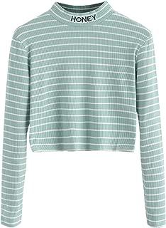 SweatyRocks Women's Mock Neck Embroidered Letter Long Sleeve Striped Crop Top T Shirt