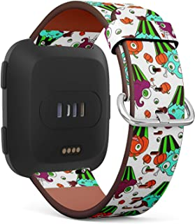 Compatible with Fitbit Versa - Quick-Release Leather Band Bracelet Strap Wristband Replacement - Funny Monsterscupcakes Halloween Trick