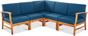 GDF Studio Capri Outdoor 5 Piece Chat Set with Blue Water Resistant Cushions (No Coffee Table)