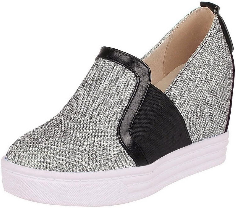 BalaMasa Womens Sequins Solid Pearl Fabric Pumps-shoes