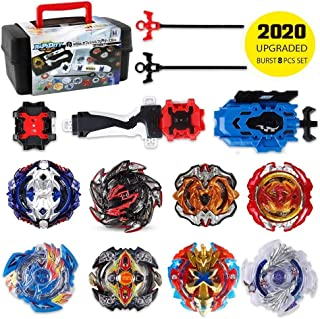 Battling Top Bey Burst Set of 8pcs, Fighter Gyroscope 4D Fusion Model, Burst Evolution Combination Series, 2 Launchers Set with 2 Throwers, Best Toy Gift for Children Kids