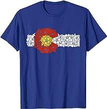 Retro Colorado Flag Columbine Flower Artistic Nature Design T-Shirt