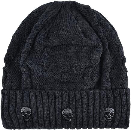 KISSBAOBEI Unisex Men Women Skull Knitted Beanie Hats Cap for Winter 7a64b271a626