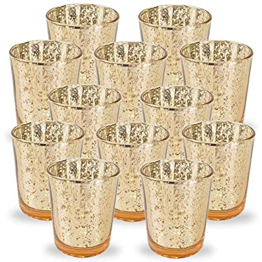 Just Artifacts Mercury Glass Votive Candle Holder 2.75  H (12pcs, Speckled Gold) -Mercury Glass Votive Tealight Candle Holders for Weddings, Parties and Home Decor